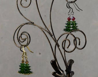 Frosted Green Crystal Christmas Tree Earrings