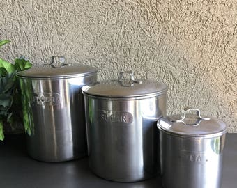 Silver Metal Kitchen Canisters Flour Sugar Tea Vintage Storage - #F1188