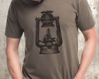 Men's T-Shirt - Kerosene Lantern & Forest - Men's Screen Printed T-Shirt - Available in S, M, L, XL and XXL