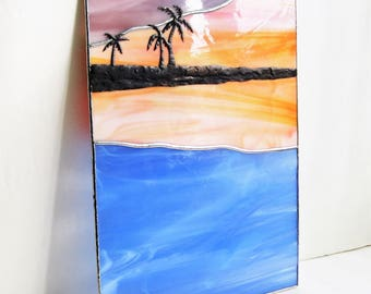 Ocean Sunset with Reflecting Palms-Stained Glass Panel- Palm Tree overlay, Blue, Orange, Mauve