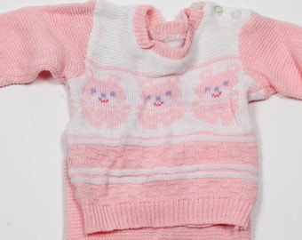 1950s 1960s 1970s Vintage Pink Baby Outfit | Knit Sweater Leggings 4DD