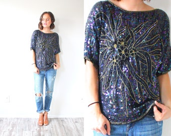 Vintage 80's black boho glitter sequence blouse top // 1980's sequence blouse // 80's top // glitter sequence boho blouse // short sleeve