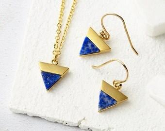 Triangle Necklace - Triangle Earrings, Geometric necklace, Geometric Earrings, Lapis Jewellery, Gold Necklace, Gold Dangle Earrings, Lapis