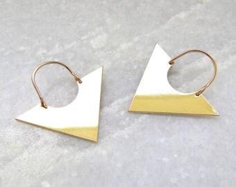 Triangle Earrings - Geometric Earrings, Gold Triangle Earrings, Dangle Earrings, Minimalist Earrings, Minimalist Jewellery, Gifts for her