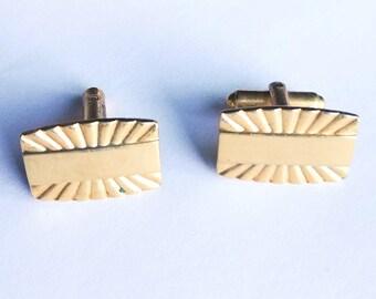 Cuff Links by Speidel Gold Tone Sunburst Design Vintage Men's Jewelry Jewellery Wedding Accessories Gift Guide Men