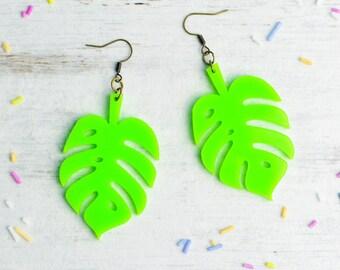 Neon Green Cheese Plant Earrings | Nickel Free Earrings | Monstera Dangle Earrings | Statement Jewellery | Plant Lover Gift