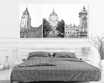 Set of Three, Iconic Paris Cathedral Scenes in Washed B/W, 20x24 Poster Size
