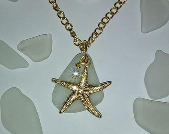 Gold starfish and sea glass necklace - Beach glass jewelry - Sea glass jewlery.