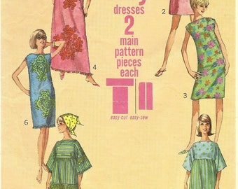 1960s Womens Jiffy Muu-Muu in Two Lengths & Shift Dress Swim Cover-Up Simplicity Sewing Pattern 6351 Size 16 Bust 36 FF Vintage Patterns