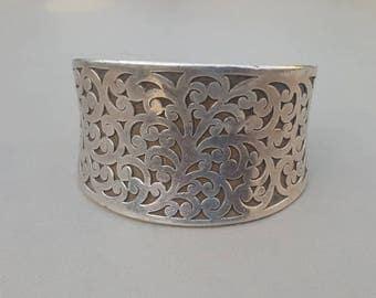 """Lois Hill Scroll Cuff Bracelet Sterling Silver 1 9/16"""" Wide & Heavy"""