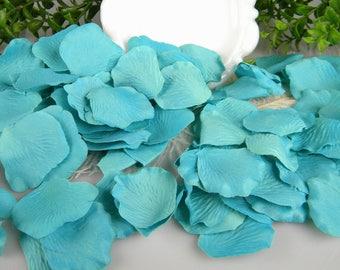 200 Pool Ocean Blue Rose Bulk Petals Artificial Petals | Tropical Beach Wedding Decoration | Flower Tossing Petals Table Scatter