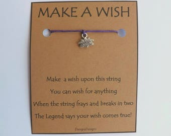 Ohm Lotus Silvertone Charm WISH STRING Bracelet String Friendship Bracelet  Amulet Lucky Stocking Stuffer