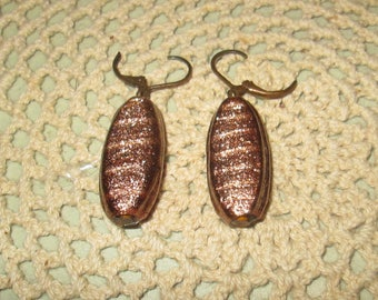 Vintage 1960s Mod Sparkly Gold Earrings Pierced Oval Shaped