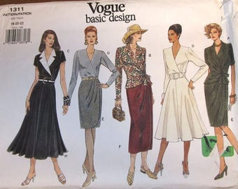 Vintage Easy Sewing Pattern Vogue Basic Design 1311, Wrap Top Slim or Flared Skirt Women Miss Size 18 20 22 Bust 40 42 44 Uncut Factory Fold