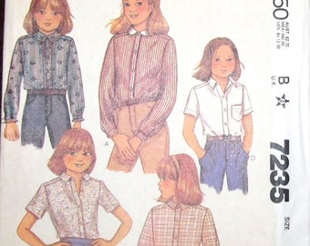 Vintage 1980s Sewing Pattern McCall's 7235 Button Down Shirt, Blouse, Top Long or Short Sleeves Tween Girls Size 12 Bust Chest 30 Uncut FF
