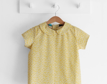 Back to school, girls clothing, girls shirts, girls peter pan collar top, kids fall shirt, kids spring, girls spring. Sustainable clothing
