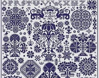 NEW TO SHOP Opus 2 counted cross stitch pattern by Long Dog Samplers at thecottageneedle.com monochromatic Celtic Scandinavian
