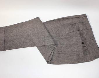 "vintage c. 1962 -Oxxford- Men's pleat front pants. Wool tweed 'Grousemoor'. Combination waist - Tapered leg w/ cuffs. 36 - 39"" Waist"
