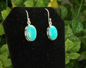 Turquoise Earrings, Robins Egg Blue, Sterling Silver, December Birthstone, Turquoise Dangles, Natural Turquoise, Blue Turquoise Dangle
