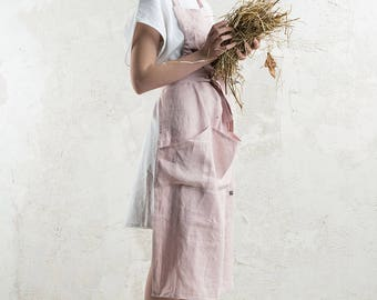 Linen apron, Long linen apron, Full apron, Dusty rose apron