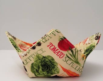 Microwave Bowl Cozy, Bowl Holder, Potholder, Hot or Cold, Hot Pad, All Cotton, Veggies Galore