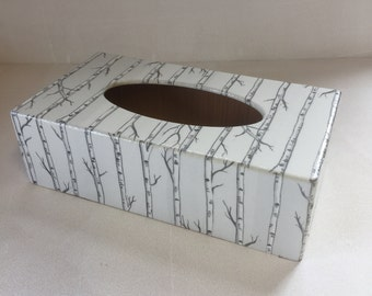 Silver Trees rectangular Tissue Box Cover wooden decoupage hotels