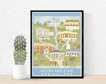Gilmore Girls poster - Gilmore girls art print - Stars Hollow poster - Luke's - Lorelai and Rory Gilmore - Gilmore Girls print