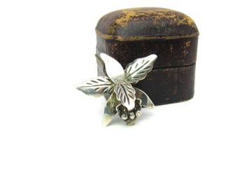 Orchid Flower Brooch.  Small Taxco Mexico Sterling Silver 3D Pin. Engraved Petals. Signed, Eagle 3 Mark. Vintage Mexican 1950s Retro Jewelry