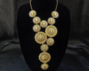 Statement bib necklace, vintage inspired gold tone filigree bib necklace