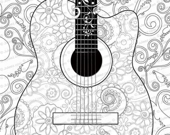 NEW Guitar Flowers Adult Coloring Page Printable Poster Instant Download