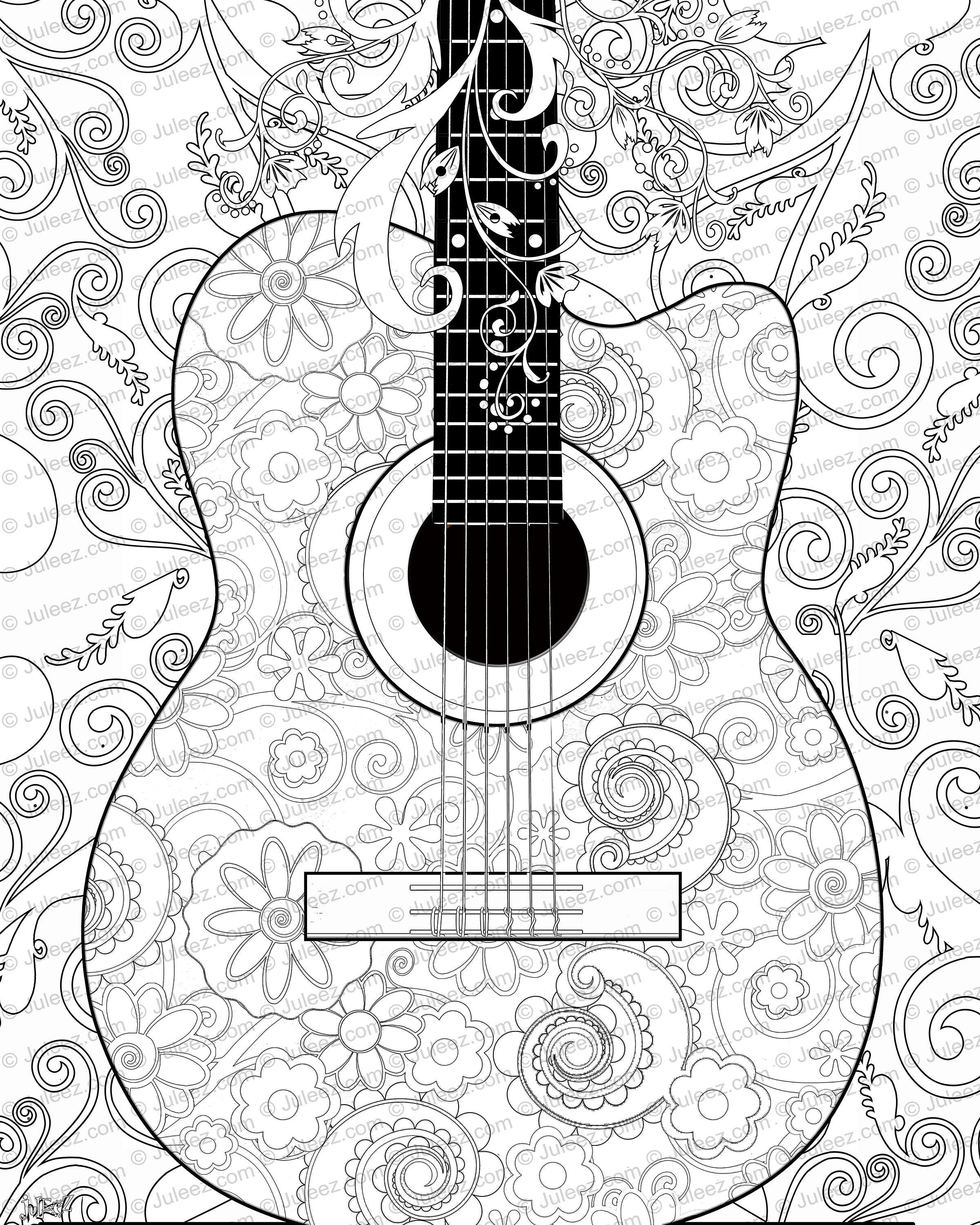 NEW Guitar Flowers Adult Coloring Page Printable