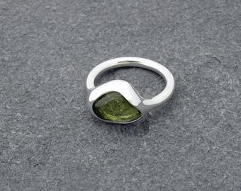 green tourmaline silver ring - green tourmaline October birthstone silver ring
