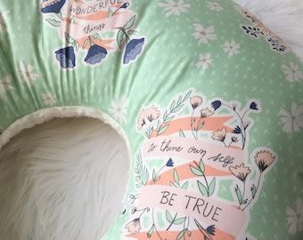 Floral Nursing Pillow / Mint Nursing Pillow Cover / Wonderful Things Nursing Pillow, Baby Shower Gift, Floral Baby Bedding, Baby Girl Gift