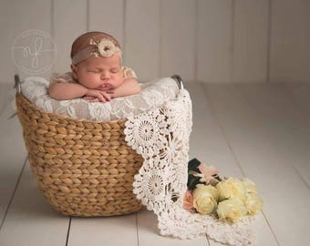Baby Girl Sheer Skinny Stretch Tieback, headband, flower, hair accessories, photography prop,