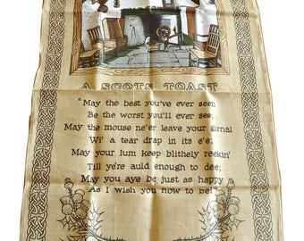 Tea Towel Souvenir A Scots Toast Scotland Tea Towel Vintage Linanne