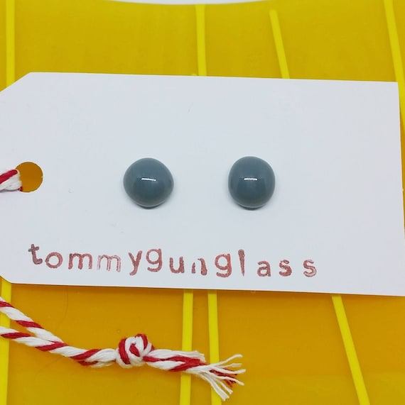 Solid Gray Glass Stud Earrings