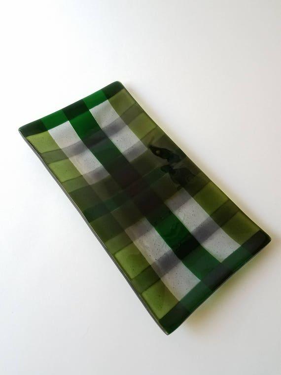 Plaid Green Glass Serving Dish