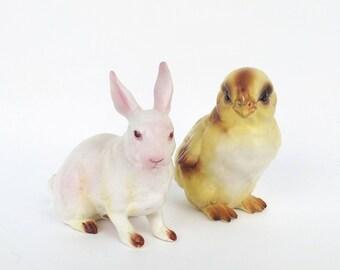 Vintage Lefton Chick and Bunny Rabbit Figurines