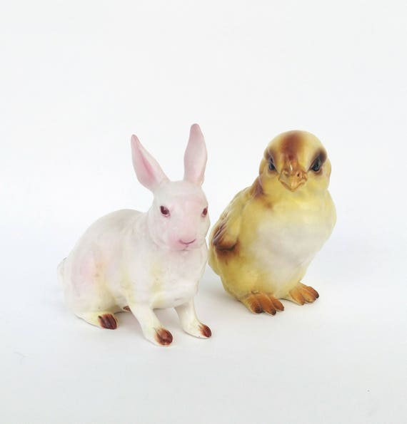 Vintage Lefton Chick and Bunny Rabbit Figurines