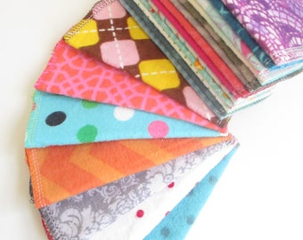 Cloth Wipes--Petite--Pack of 20--Modern Prints Mix--2 Ply Flannel--Ready to Ship
