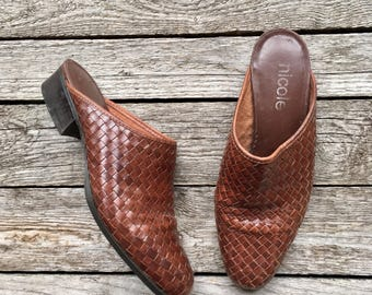 7.5-8 M | Brown Woven Leather Heeled Mules by Nicole