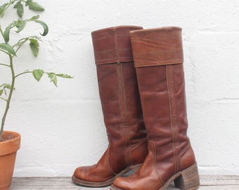6 M | Miss Capezio Brown Leather Campus Boots Tall Chunky Heel Riding Boots