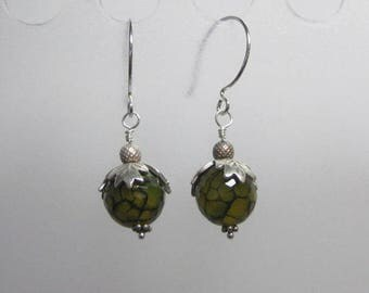 Fire crackle agate and sterling silver earrings CHARITY DONATION