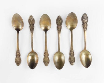 Vintage Demitasse Spoons with Flowers in Gold Made in Sweden Set of 6