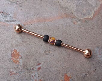 14g 16g Black Rose Gold Industrial Barbell Scaffold Piercing
