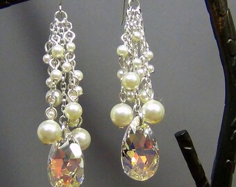 "Swarovski Earrings  - Swarovski Crystal AB Pear, Swarovski Cream Pearls, Sterling Silver Chain  - 3"" - Hand Crafted Artisan Jewelry"