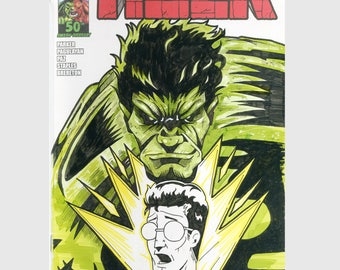 Hulk Sketch Cover / Variant Cover / Hand Painted Comic Book / Hand Drawn / Original Art / Pen and Ink / Markers