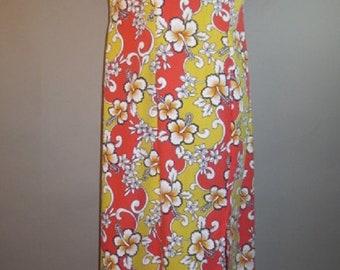 Vintage Hawaiian Maxi Shift, Tien YANG, Made in Hawaii, Cotton Poly, Orange Yellow White, Skirt Slit on Sides,  Back Nylon Zipper...large