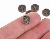 10 Copper CROSS Dot Charms, relic charms, round coin charms, 10mm, chs2969