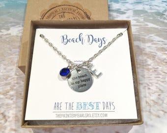 Beach Necklace Women, Beach Inspired Jewelry Personalized Birthstone and Initial Beach Jewelry Beach Gifts Beach Tag Necklace Quote Necklace